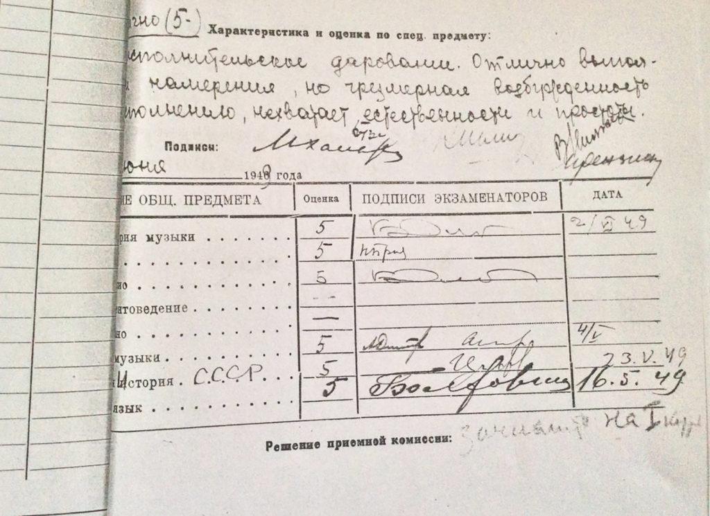 Экзаменационный лист Марины Дранишниковой